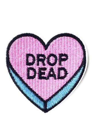 "Kitty Deluxe Iron on Patch of Mini Heart Candy ""DROP DEAD"""