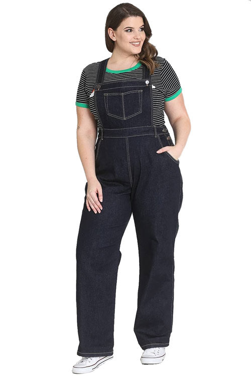 Hell Bunny Elly May Navy Denim Dungaree / Overalls