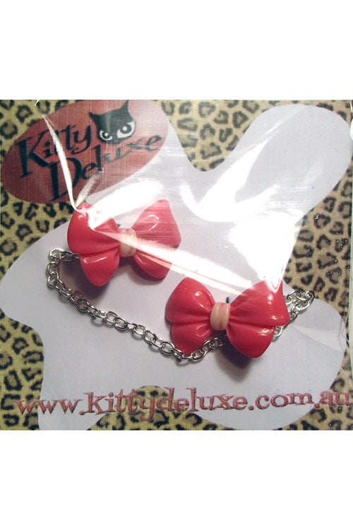 Kitty Deluxe Cardigan Clips in Guava Fancy Bow Design