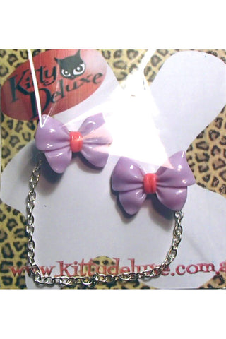 Kitty Deluxe Cardigan Clips in Lavender Fancy Bow Design