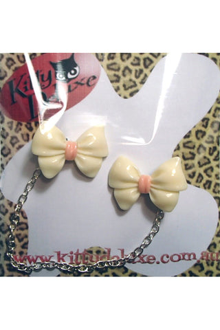 Kitty Deluxe Cardigan Clips in Yellow Fancy Bow Design