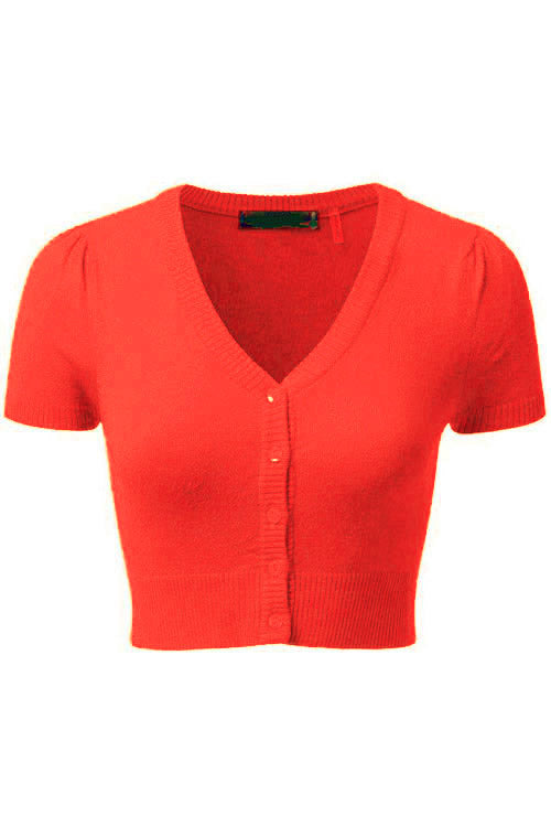 MAK Sweaters Cropped Cardigan with Short Sleeves in Fiesta Orange