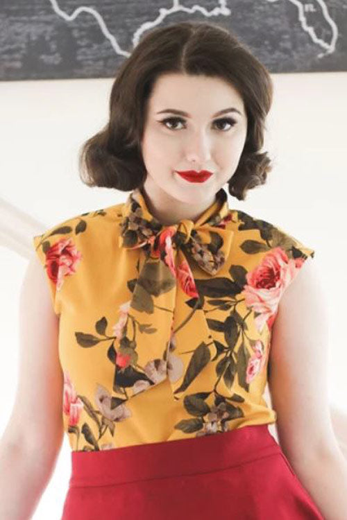 Retrolicious Bow Top in Mustard Floral