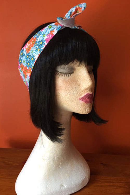 Reversible Wired Headband in Colourful Flower Print & White