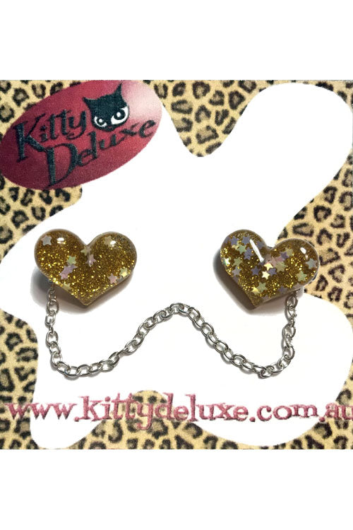 Kitty Deluxe Cardigan Clips in Yellow Sparkle Heart Design