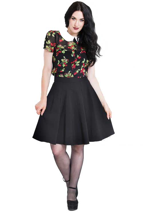 Hell Bunny Gabby Skater Skirt in Black