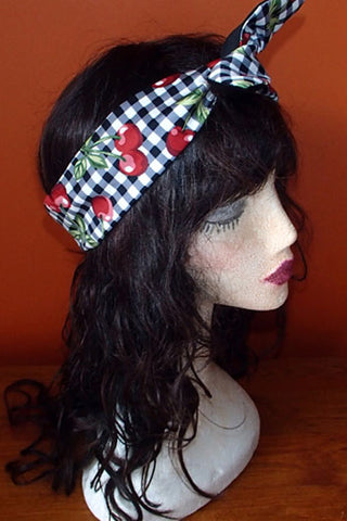 Reversible Wired Headband in Cherry Gingham Print & Black