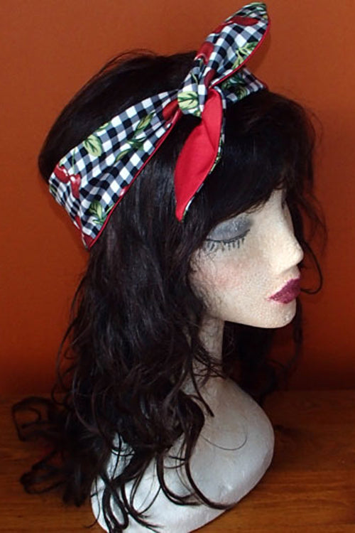 Reversible Wired Headband in Cherry Gingham Print & Red