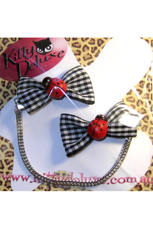 Kitty Deluxe Cardigan Clips in Gingham Ladybird Design