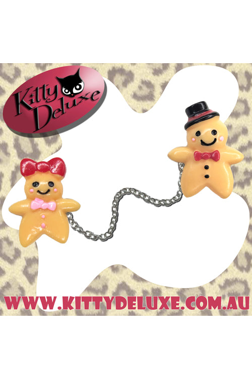 Kitty Deluxe Cardigan Clips in Gingerbread Couple