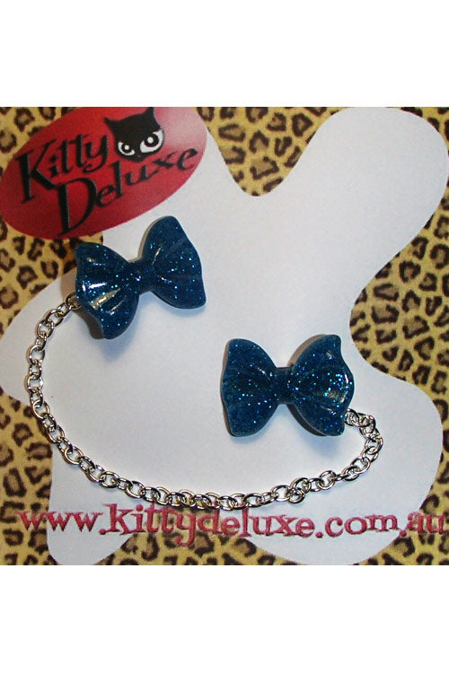 Kitty Deluxe Cardigan Clips in Blue Glitter Bow Design