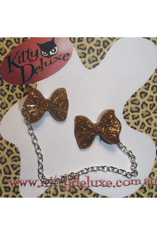 Kitty Deluxe Cardigan Clips in Gold Glitter Bow Design
