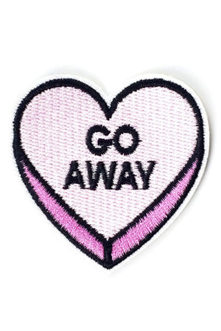 "Kitty Deluxe Iron on Patch of Mini Heart Candy ""GO AWAY"""