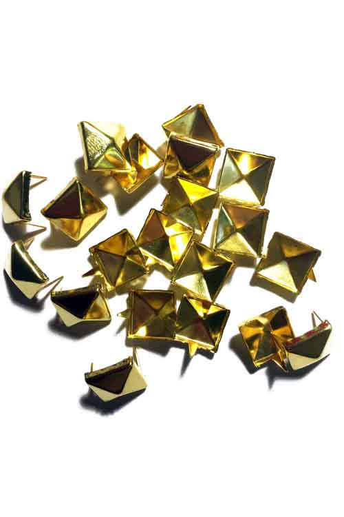 9 mm Pyramid Studs 20 Piece Pack  - Gold Tone