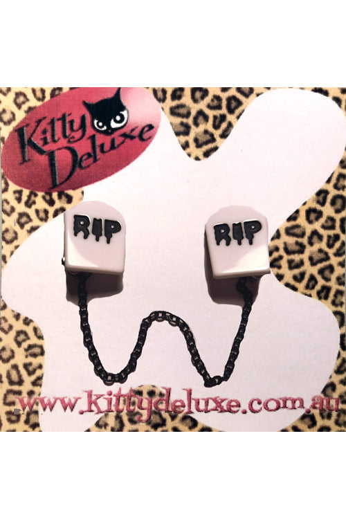 Kitty Deluxe Cardigan Clips in Graveyard Design