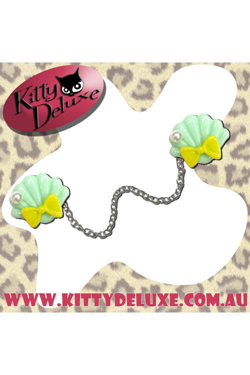 Kitty Deluxe Cardigan Clips in Ariel's Wardrobe - Mint with Yellow Bow