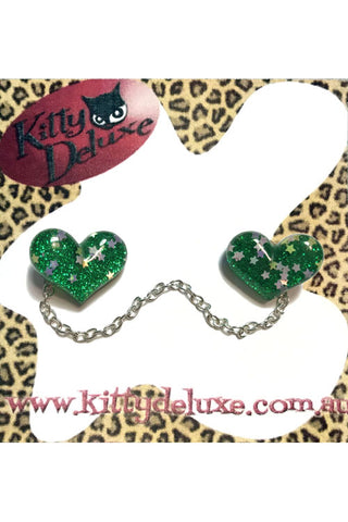Kitty Deluxe Cardigan Clips in Green Sparkle Heart Design