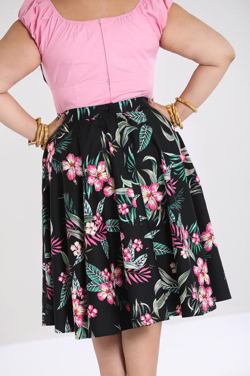 Hell Bunny Kalani 50's Skirt in Black