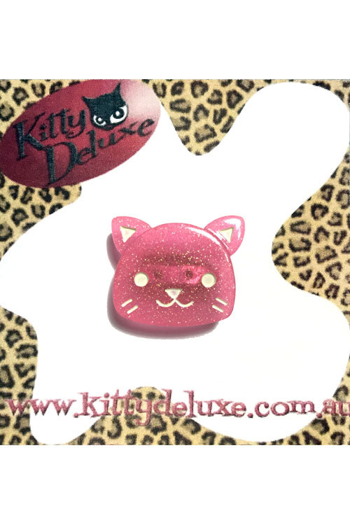 Kitty Deluxe Broochlette Brooch in Pink Glitter Kitty