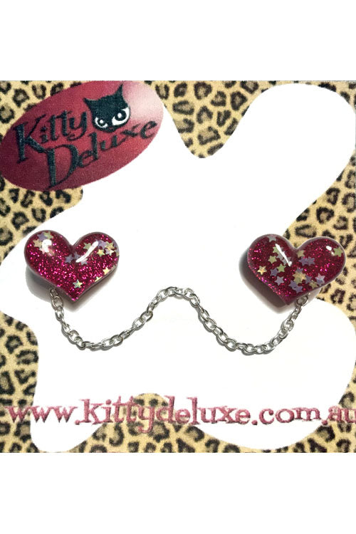 Kitty Deluxe Cardigan Clips in Pink Sparkle Heart Design