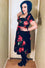 Feverfish Megan 50's Dress in Black Rose Print