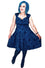 Feverfish Kate Mid Dress in Royal Blue and Black Flocked Velvet Brocade