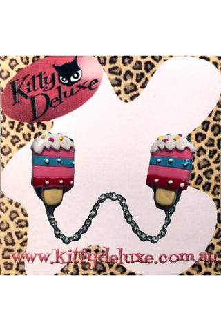Kitty Deluxe Cardigan Clips in Ice Cream Popsicle Design