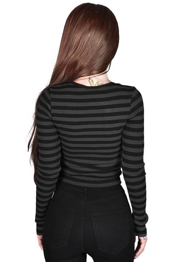 Killstar Izora Ribbed Top in Grey