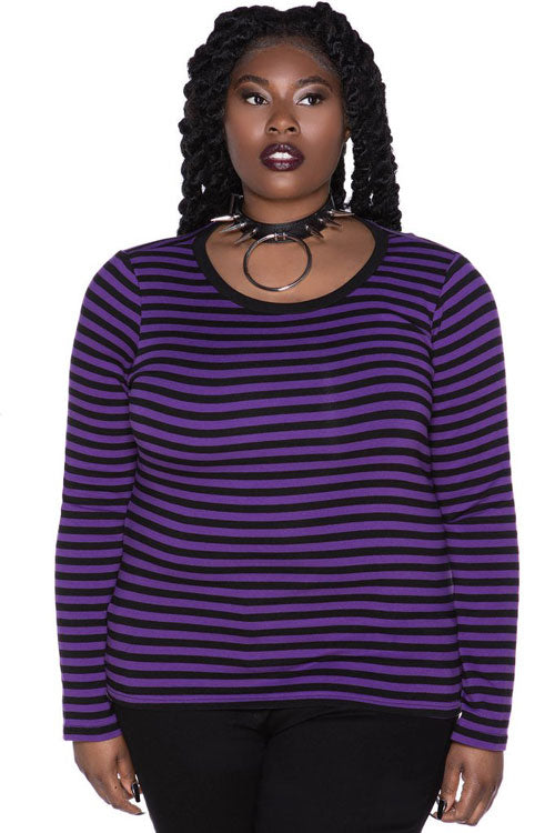 Killstar Jett Long Sleeved Top in Black and Plum Purple