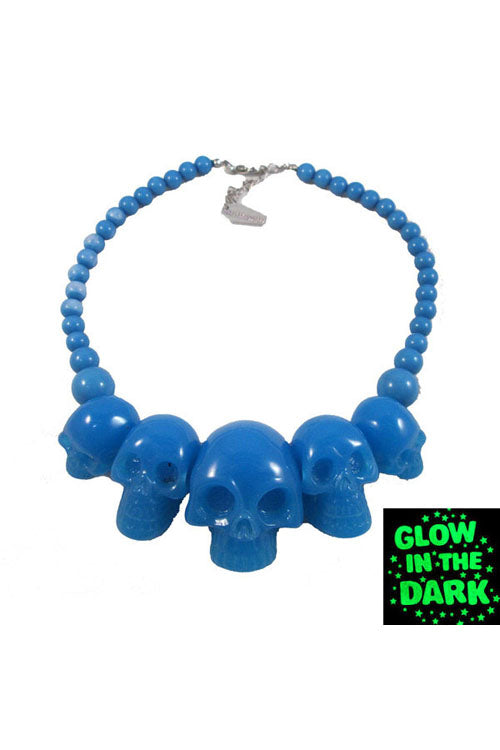 Kreepsville 666 Skull Necklace in Blue Glow