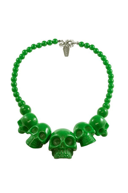 Kreepsville 666 Skull Necklace in Slime Green