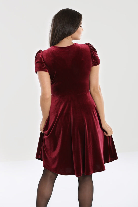 Hell Bunny Joanne Dress in Burgundy