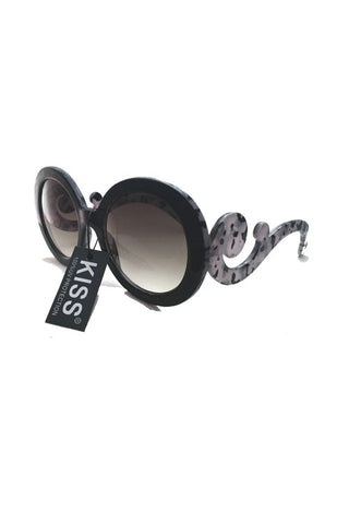 Kiss Eyewear Kym Medium Oval Sunglasses with Swirl Side Arm in Black / Grey