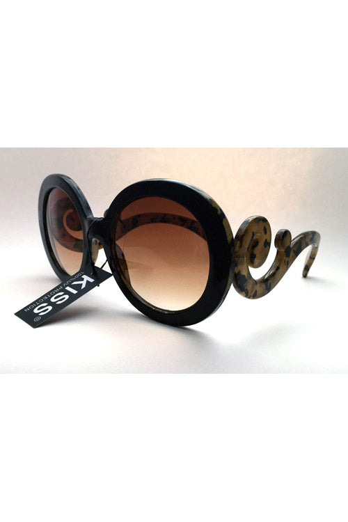 Kiss Eyewear Kym Medium Oval Sunglasses with Swirl Side Arm in Black / Tan
