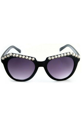 Kiss Eyewear Lyla Studded Frame Sunglasses in Black