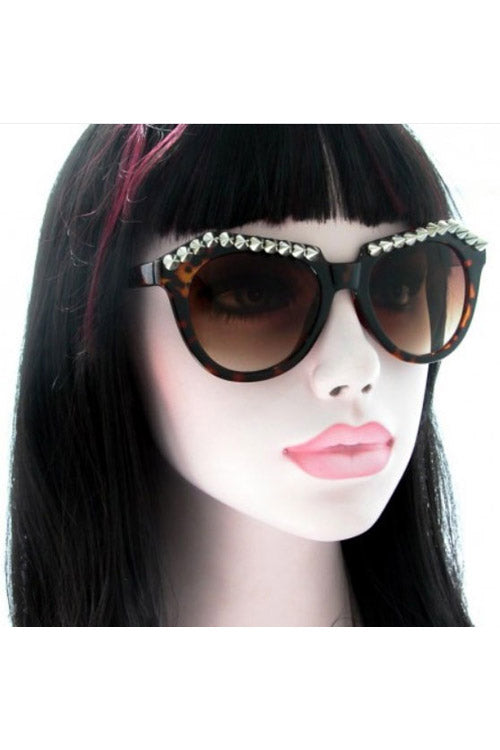 Kiss Eyewear Lyla Studded Frame Sunglasses in Tortoise