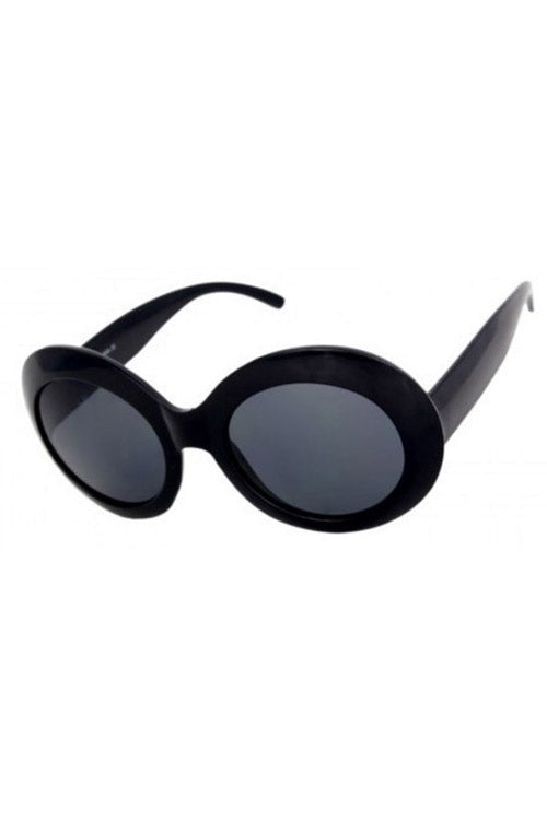 Kiss Eyewear Frances Large Oval Thick Frame Sunglasses in Black