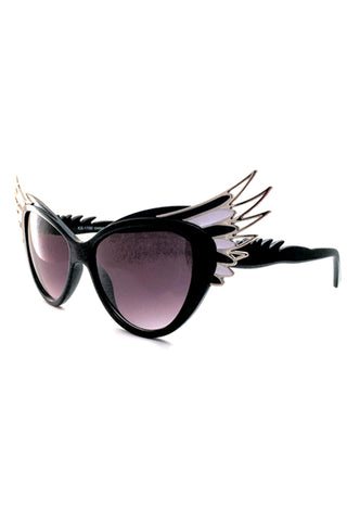 Kiss Eyewear Winged Frame Sunglasses Black and White