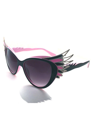 Kiss Eyewear Winged Frame Sunglasses Black and Pink