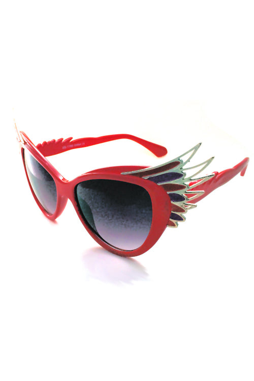Kiss Eyewear Natalie Winged Frame Sunglasses Red and Purple