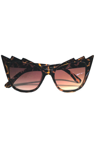 Kiss Eyewear Zig-Zag Frame Sunglasses in Tortoise/ Smoke Lens