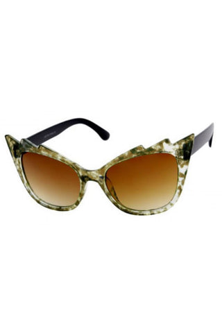 Kiss Eyewear Zig-Zag Frame Sunglasses in Light Tortoise / Bronze Lens