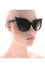 Kiss Eyewear Vamp Zig-Zag Frame Sunglasses in Black/ Bronze Lens