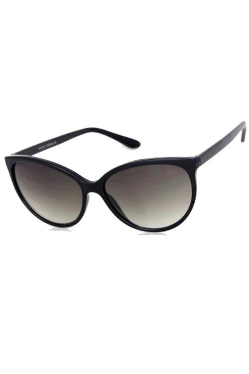 03fa717a09f Kiss Eyewear Dita Thin Frame Classic Rounded Cat s Eye Sunglasses in Black  ...