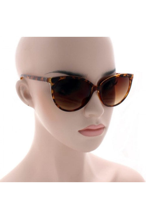 Kiss Eyewear Dita Thin Frame Classic Rounded Cat's Eye Sunglasses in Tortoise