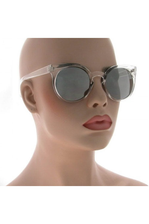 Kiss Eyewear Emily Funky Large Round Frame Sunglasses in Crystal with Mirror Lens