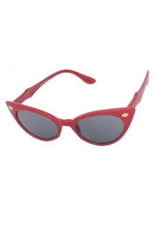 Kiss Eyewear Bettie Slim Frame Cat's Eye Sunglasses - Red with Super Dark Lens
