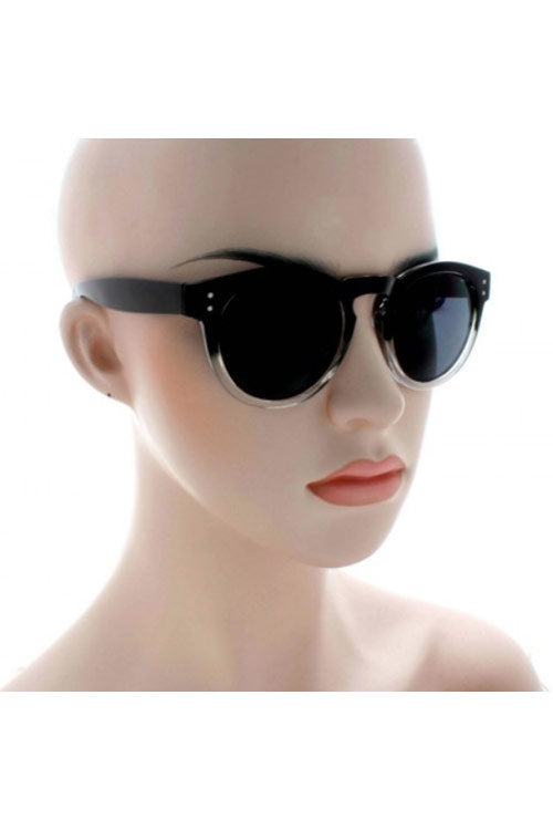 Kiss Eyewear Connie Funky Large Round Retro Frame Sunglasses in Black/Clear