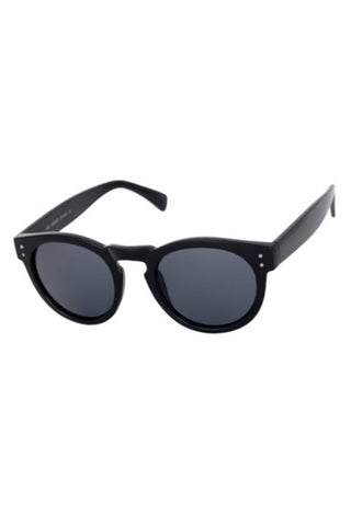 Kiss Eyewear Connie Funky Large Round Retro Frame Sunglasses in Black Plain