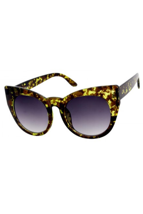 Kiss Eyewear Bridgette Large Round Cat's Eye Frame Sunglasses in Yellow Tortoise